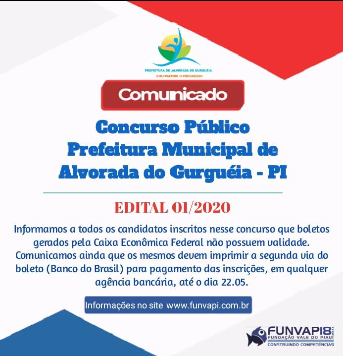 Comunicado aos inscritos do concurso da Prefeitura de Alvorada do Gurguéia