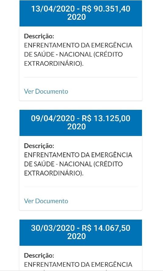 Valores recebidos pelo município.