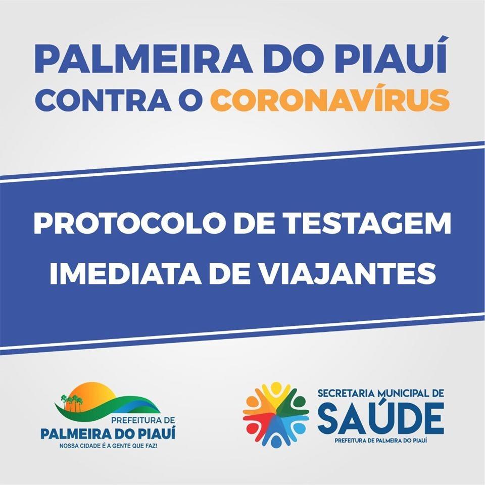 Palmeira: Testes rápidos serão realizados em viajantes que chegarem ao município