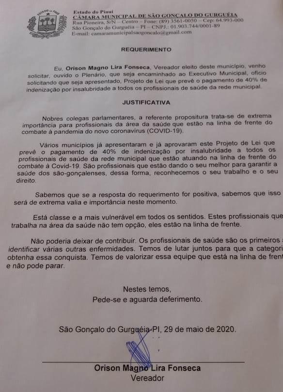 Vereador Orison propõe indenização de 40% para profissionais da saúde