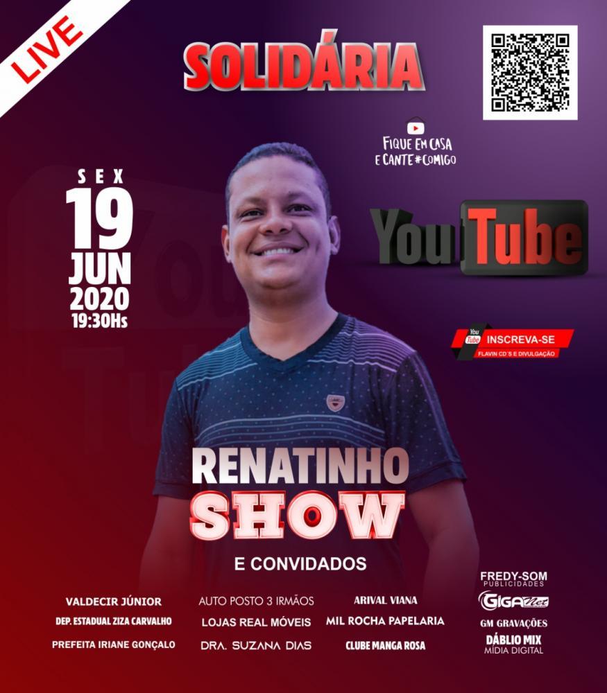 Renatinho Show realizará live solidária em Curimatá-PI