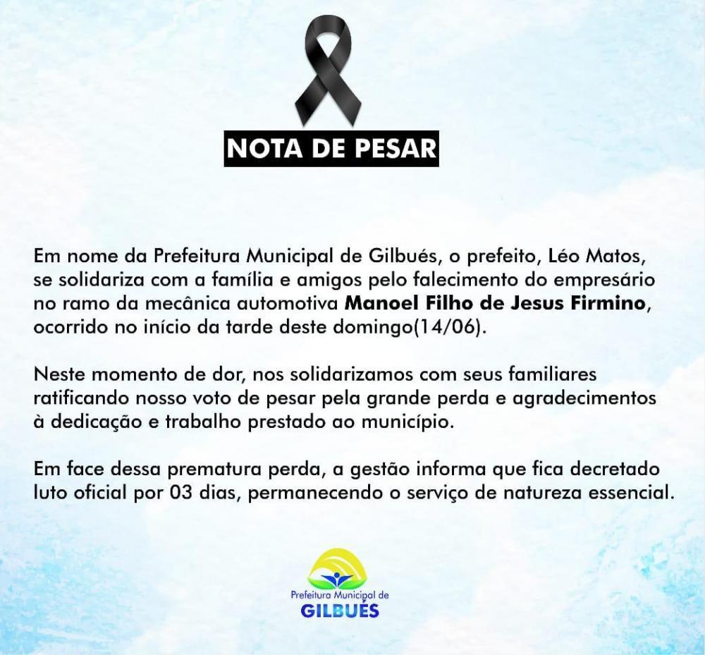 Léo Matos decreta três dias de luto em Gilbués