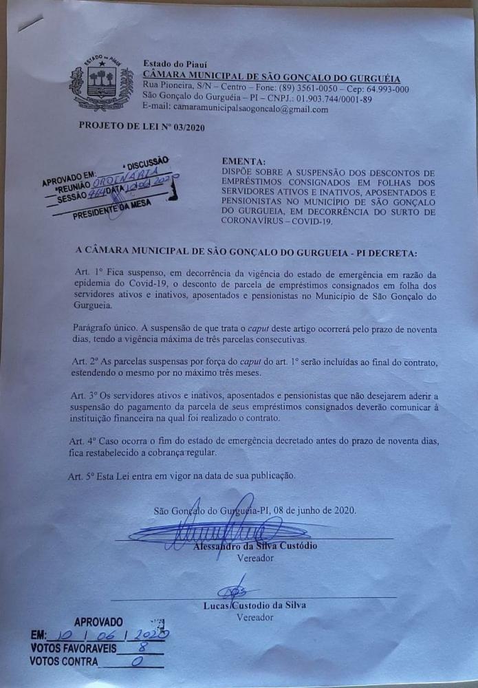 Câmara aprova PL que suspende descontos de consignados de servidores municipais
