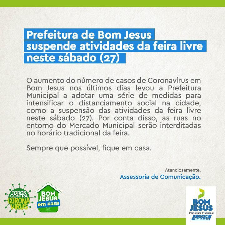 Prefeitura de Bom Jesus suspende atividades da feira livre neste sábado (27)
