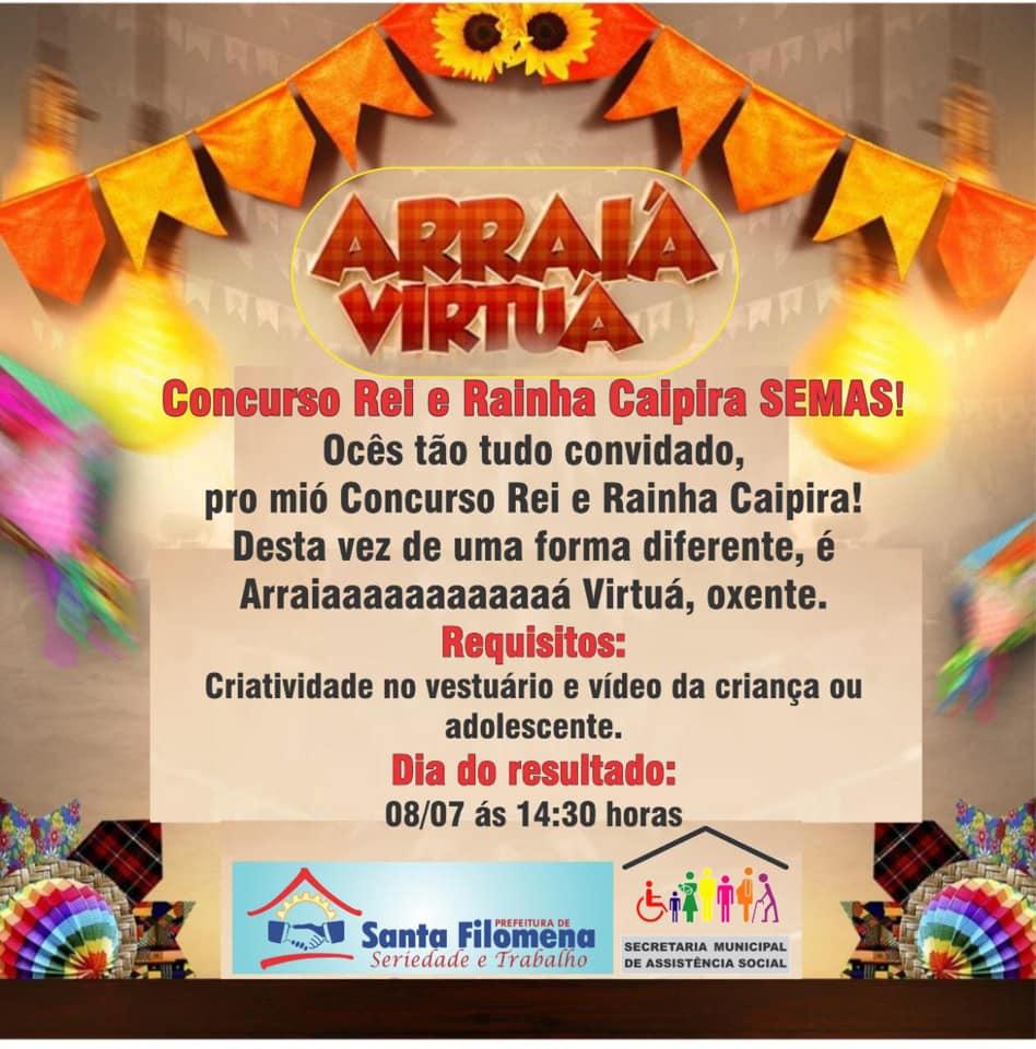 Concurso 'Rei e Rainha Caipira' será realizado em Santa Filomena