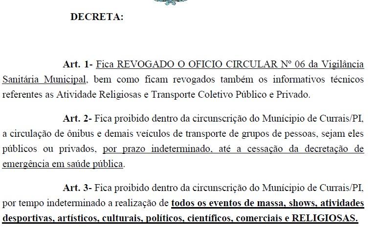 Novo decreto: Raimundo Santos prorroga medidas por tempo indeterminado