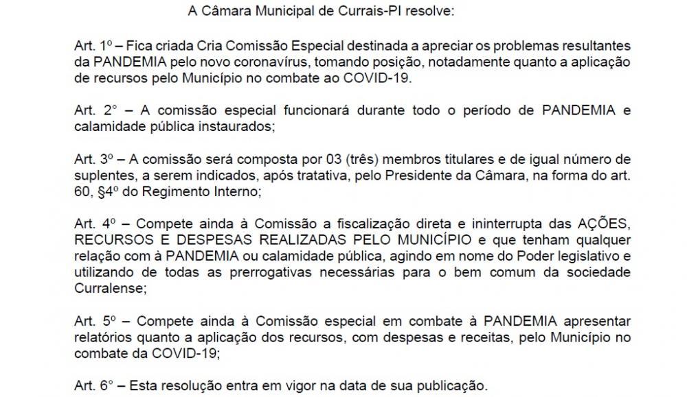 Câmara de Currais cria comissão para acompanhar gastos relacionados à Covid-19