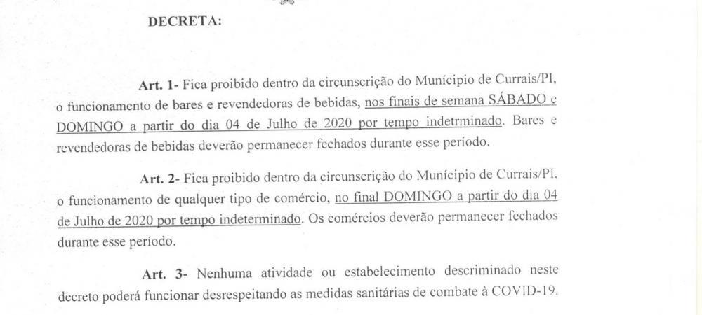 Currais: Raimundo Santos publica decreto com novas medidas