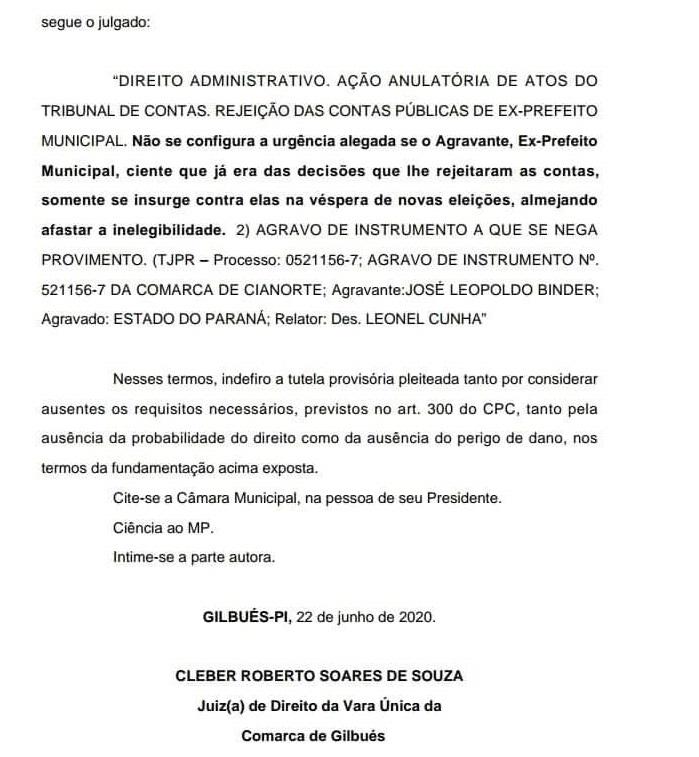 Gilbués: Ex-prefeito 'Chiquim' está na lista de inelegíveis do TCE-PI