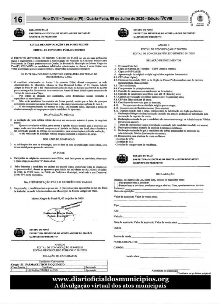 Monte Alegre: 3ª chamada dos aprovados em Concurso Público