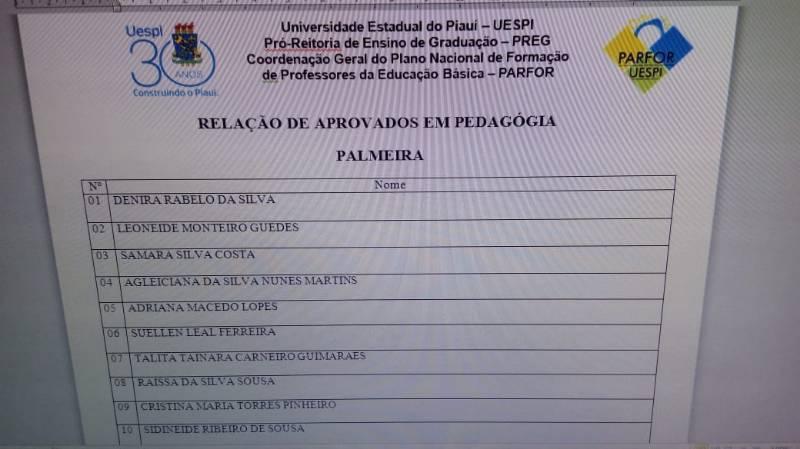 Secretaria de Educação de PALMEIRA convoca aprovados no PARFOR