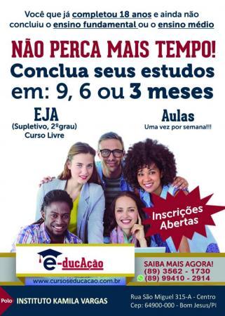 Instituto Kamila Vargas oferece agora também o supletivo/EJA